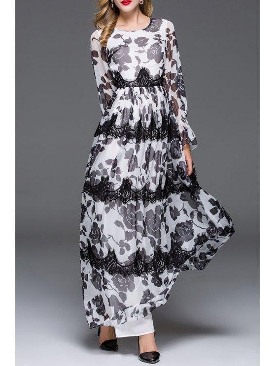 women Rose Print Long Sleeve Maxi Dress - WHITE AND BLACK S