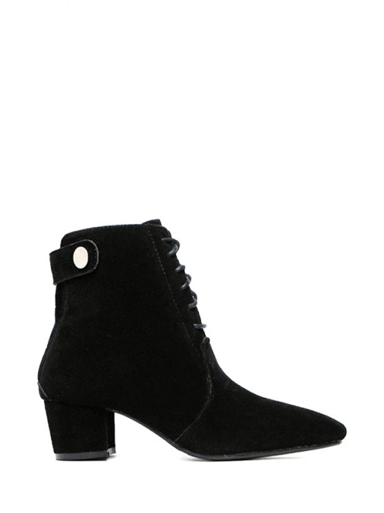 women's Suede Solid Color Lace-Up Short Boots - BLACK 35