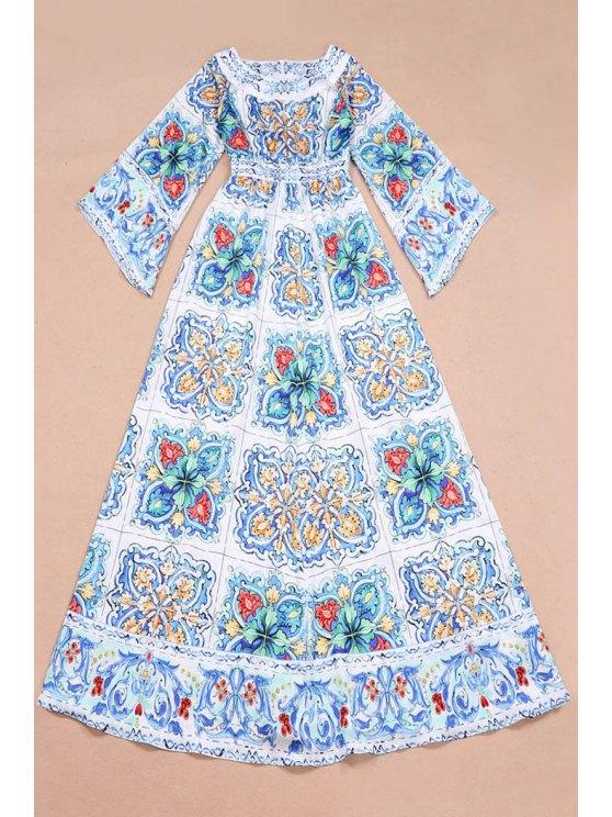 hot Long Sleeves Vintage Print Maxi Dress - WHITE S