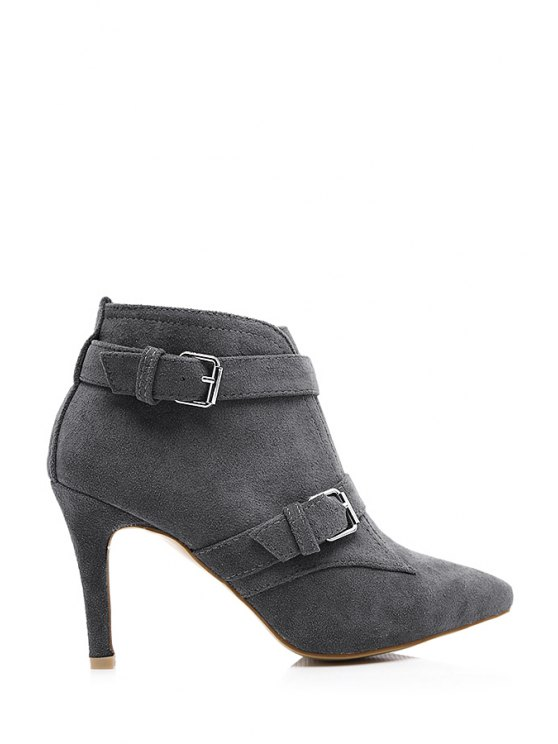 shops Buckles Suede Pointed Toe Ankle Boots - DEEP GRAY 35
