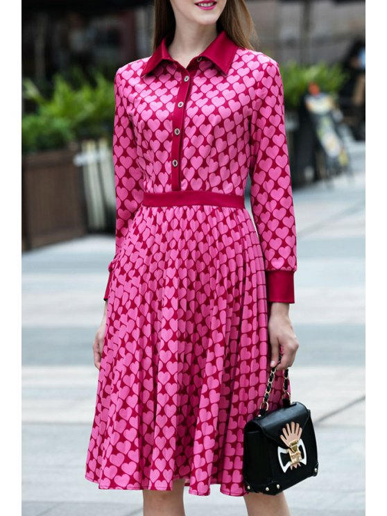 online Waisted Heart Print Long Sleeves Button Dress - ROSE S