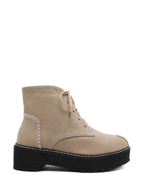 best Platform Pure Color Lace-Up Short Boots - APRICOT 35