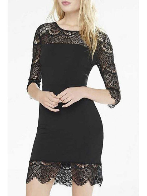 new 3/4 Sleeve See-Through Black Lace Dress - BLACK S