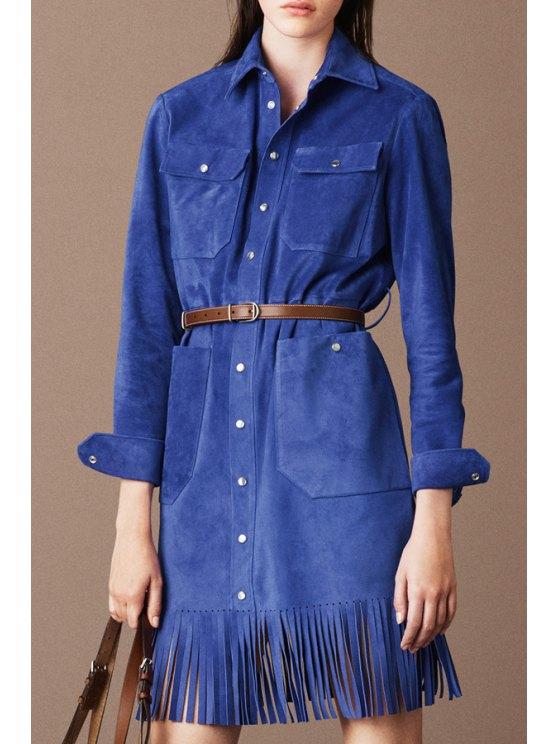 affordable Solid Color Tassels Suede Pockets Flat Collar Coat - BLUE S