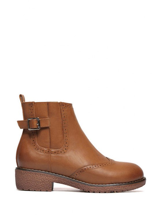 fashion Engraving Buckle Pure Color Short Boots - BROWN 35