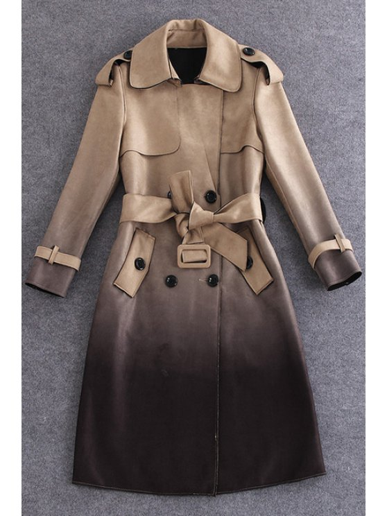 new Gradient Color Suede Pockets Flat Collar Trench Coat - BROWN S
