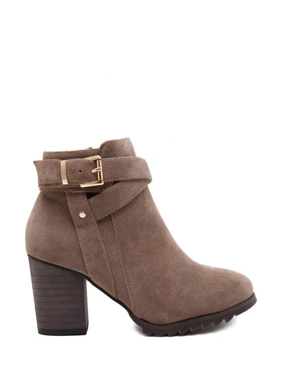 hot Criss-Cross Chunky Heel Suede Ankle Boots - CAMEL 35