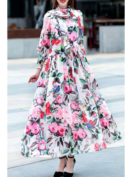 buy Waisted Floral Print Drawstring Stand Collar Dress - COLORMIX S