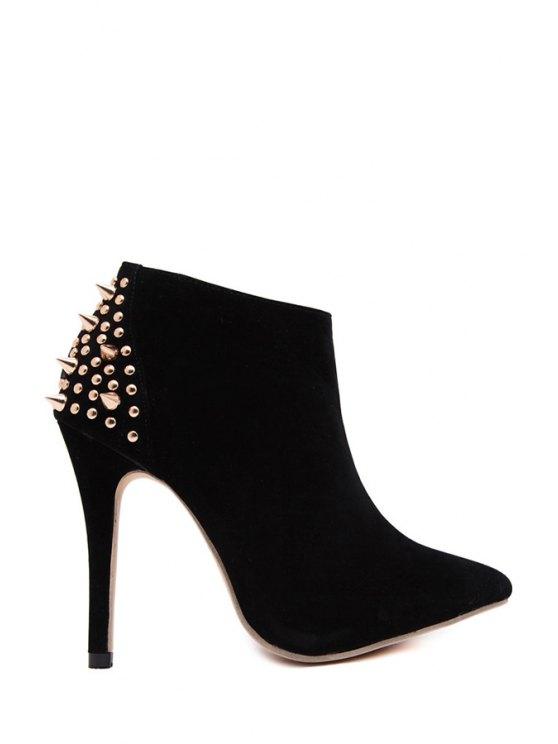 unique Rivet Suede Pointed Toe Ankle Boots - BLACK 35