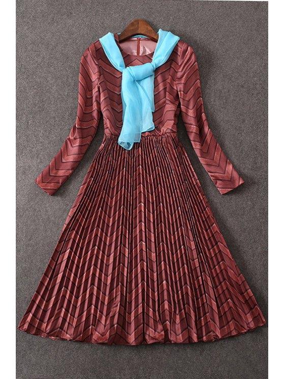 outfits Waisted Pleated Zig Zag Round Collar Long Sleeves Dress - DARK AUBURN S