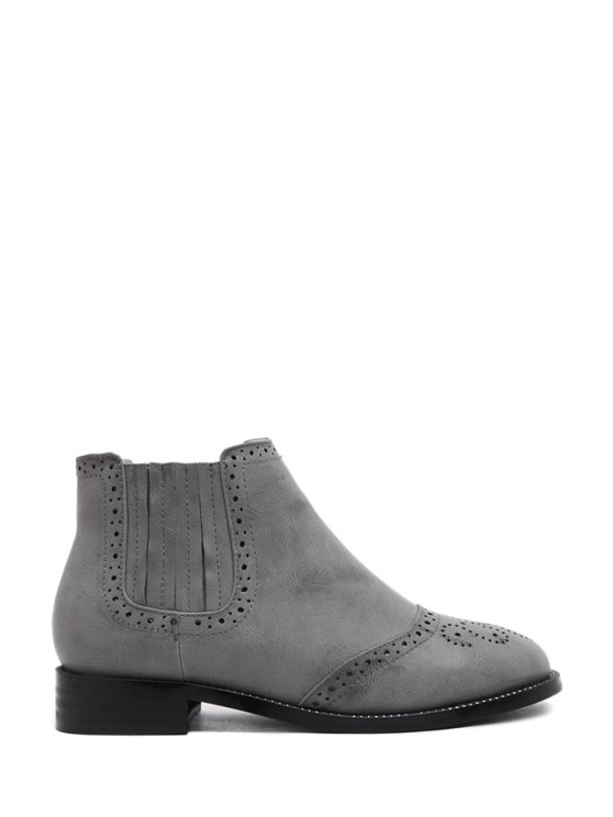 chic Engraving Solid Color Flat Heel Ankle Boots - GRAY 35