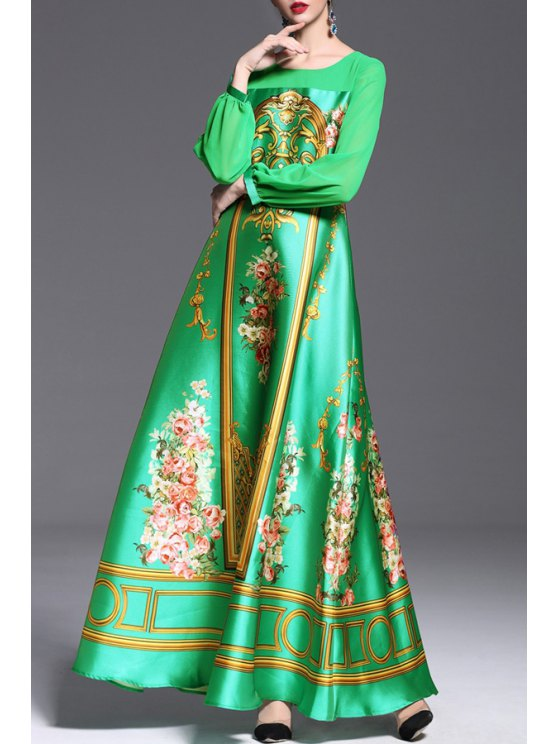 ladies Spliced See-Through Vintage Print Waisted Maxi Dress - GREEN S