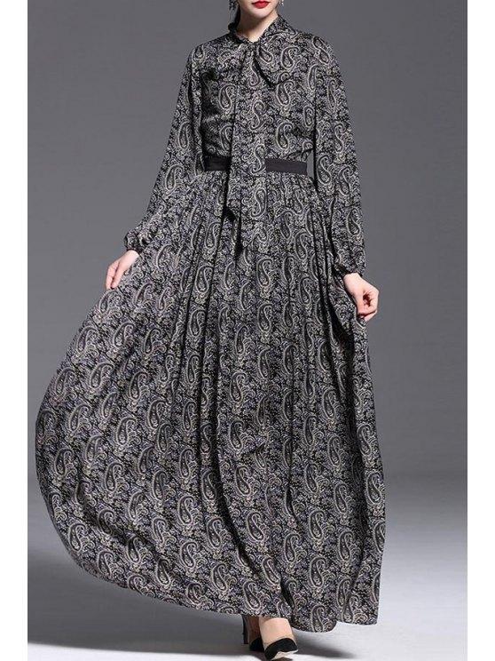 shop Cashew Nut Print Waisted Puff Sleeves Maxi Dress - BLACK S
