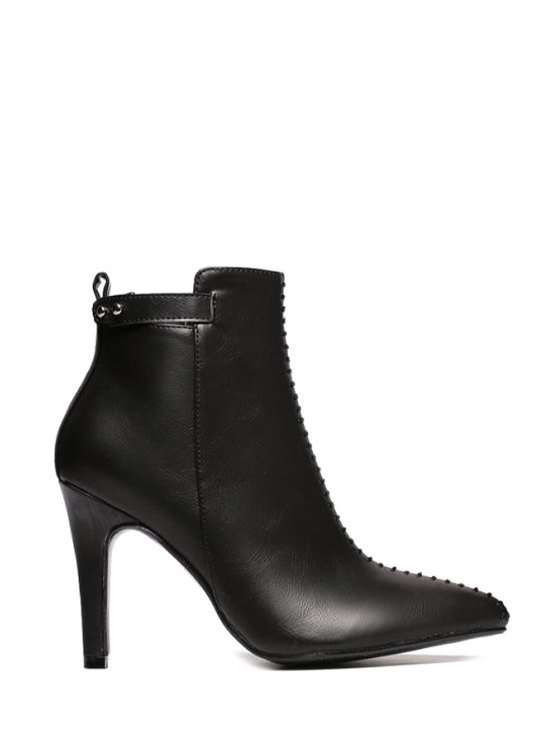 online Seton Stiletto Heel Pointed Toe Ankle Boots - BLACK 35