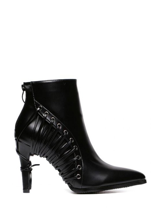 hot Black Lacing Pointed Toe High Heel Boots - BLACK 35