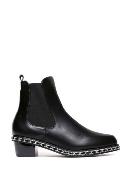 latest Chains Solid Color Elastic Short Boots - BLACK 35