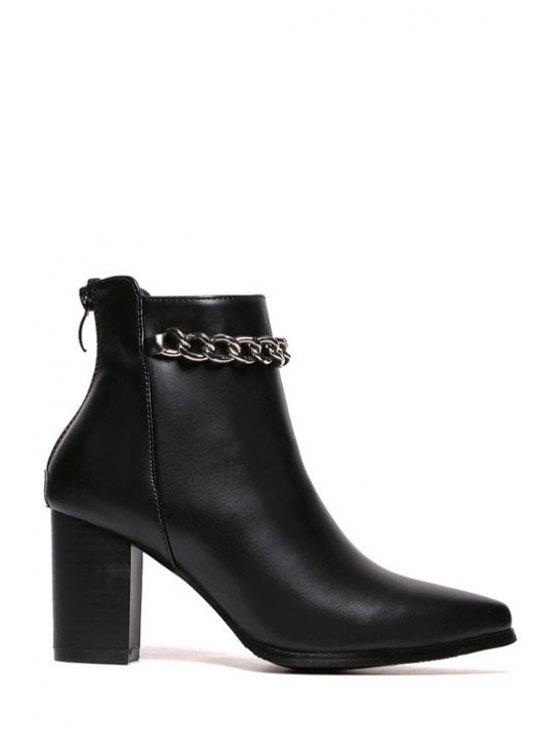 unique Chains Black Pointed Toe Short Boots - BLACK 35