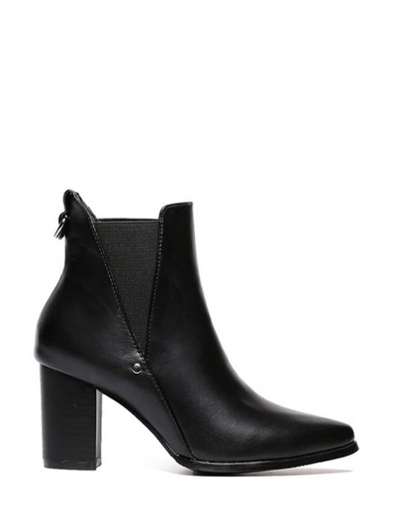 women Elastic Black Pointed Toe Short Boots - BLACK 35