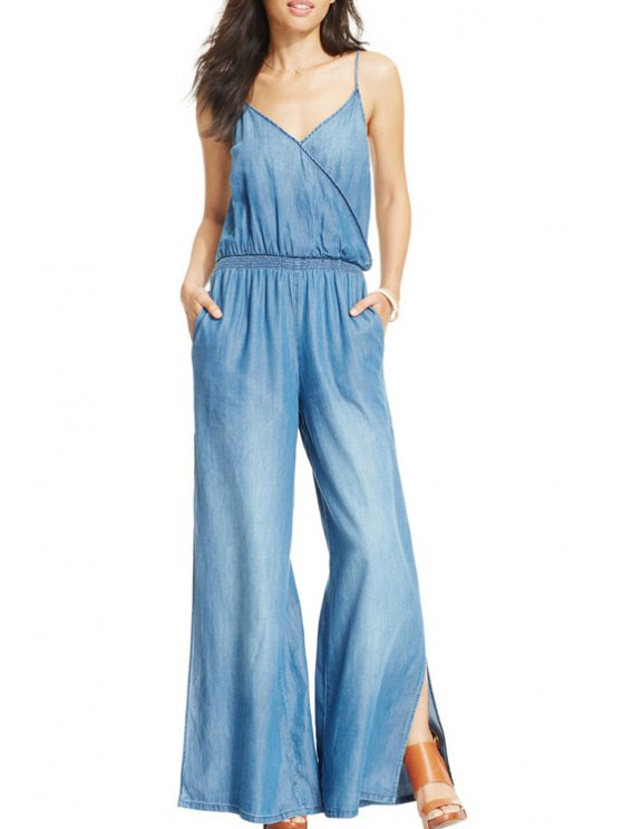 online Spaghetti Strap Flare Leg Blue Jumpsuit - BLUE ONE SIZE(FIT SIZE XS TO M)