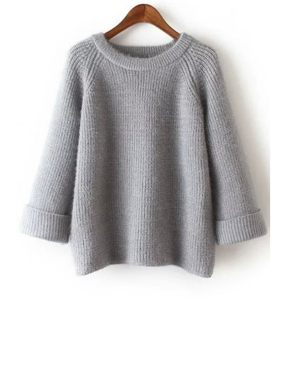 womens Pure Color Loose Fitting Long Sleeves Sweater - GRAY ONE SIZE(FIT SIZE XS TO M)