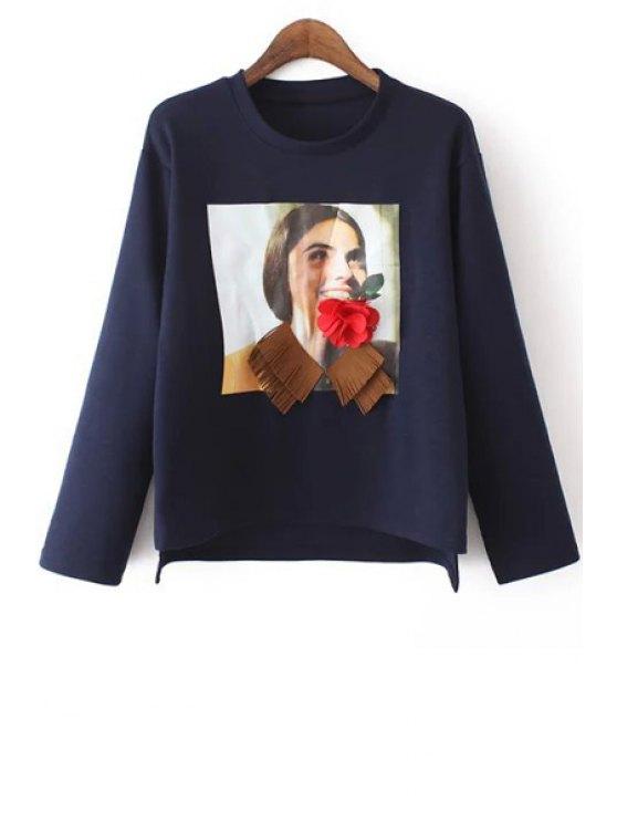 womens Cartoon Figure Print Loose Fitting Pullover Sweatshirt - CADETBLUE S