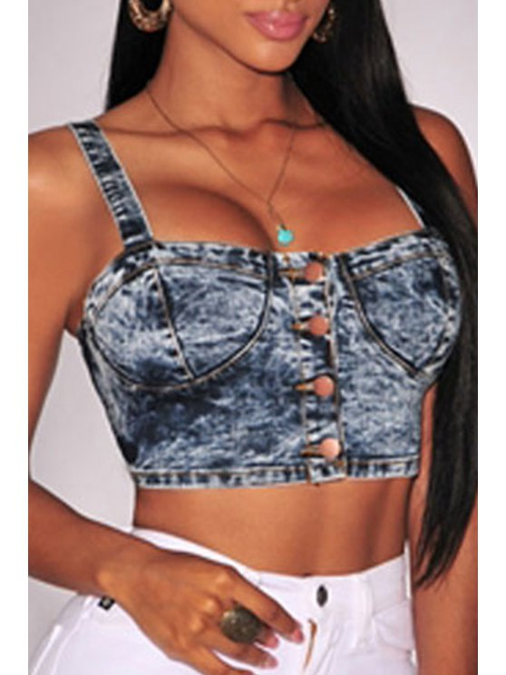 womens Square Neck Cut Out Denim Crop Top - BLUE ONE SIZE(FIT SIZE XS TO M)