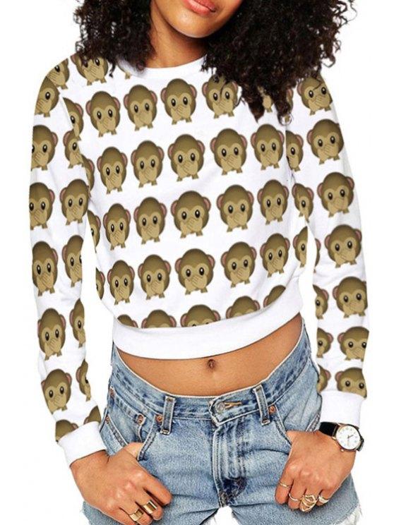 latest Round Neck Full Monkey Crop Sweatshirt - WHITE ONE SIZE(FIT SIZE XS TO M)