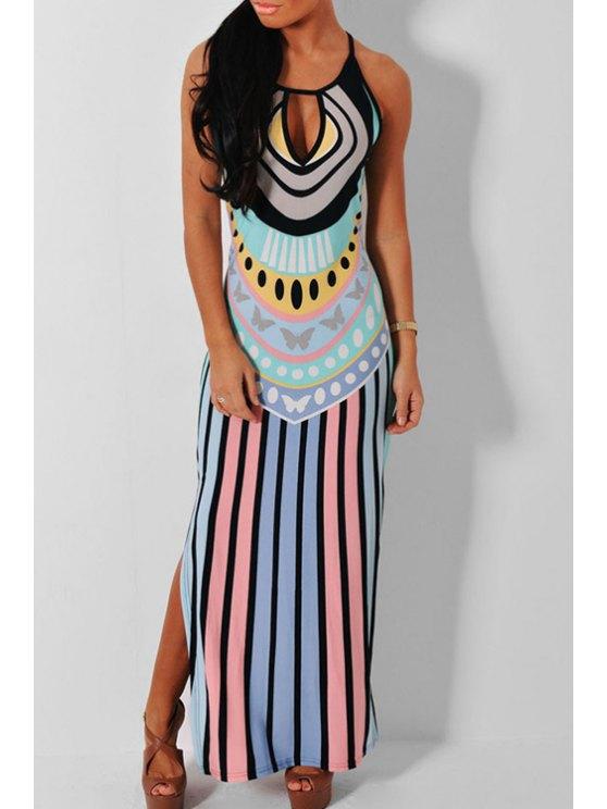 women Sleeveless Colorful Side Slit Maxi Dress - LIGHT BLUE M