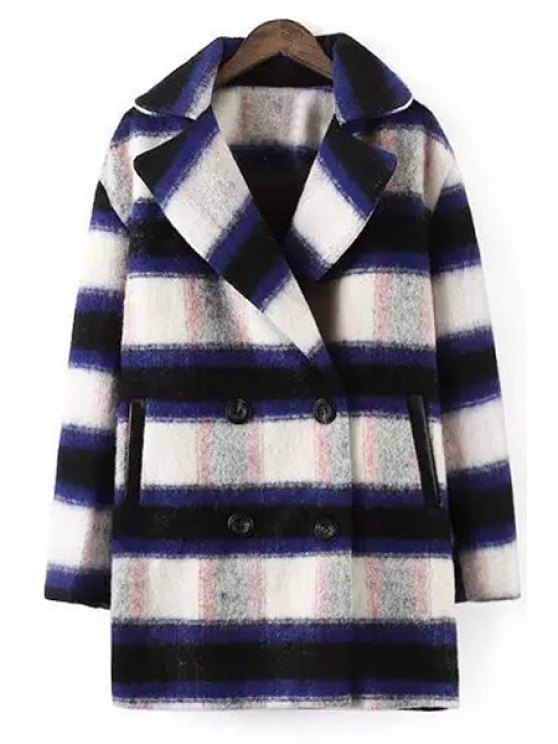 shop Checked Turn-Down Collar Long Sleeves Woolen Peacoat - PURPLISH BLUE M