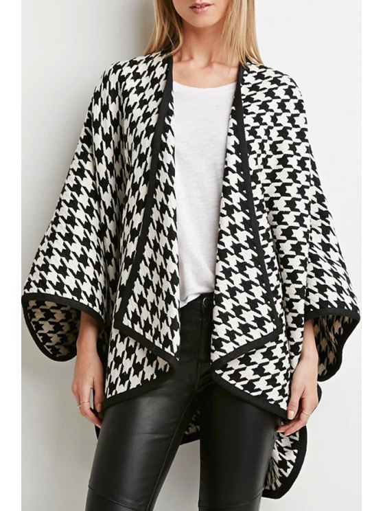 trendy 3/4 Sleeve Houndstooth Cloak Coat - BLACK AND WHITE ONE SIZE(FIT SIZE XS TO M)