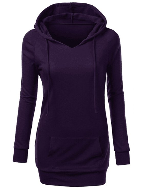 new Hooded Front Pocket Pullover Hoodie - PURPLE XL