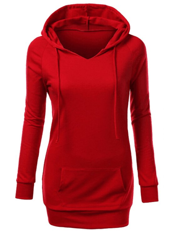 shop Hooded Front Pocket Pullover Hoodie - RED M