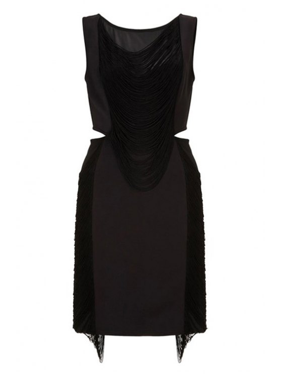 affordable Black Tassels Sleeveless Mini Dress - BLACK M