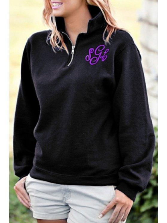 shops Funnel Neck Long Sleeve Thick Sweatshirt - BLACK M