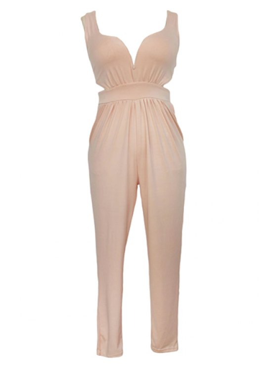 best Pure Color Plunging Neck Sleeveless Jumpsuit - YELLOWISH PINK ONE SIZE(FIT SIZE XS TO M)