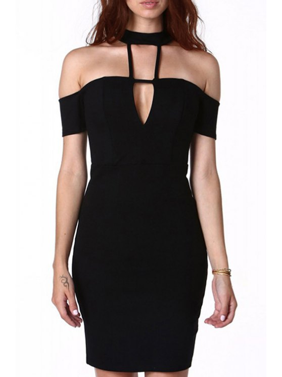 fancy Cut Out Solid Color Personality Pencil Dress - BLACK XS