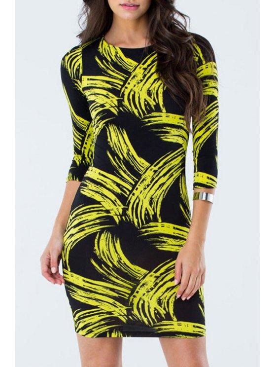 trendy Fireworks Print Jewel Neck 3/4 Sleeve Dress - YELLOW M