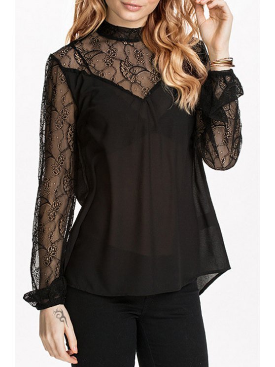 latest Lace Spliced See-Through Solid Color Blouse - BLACK XS