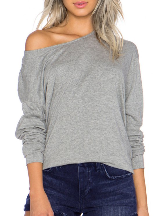 outfits Round Neck Long Sleeve Gray T-Shirt - GRAY XS