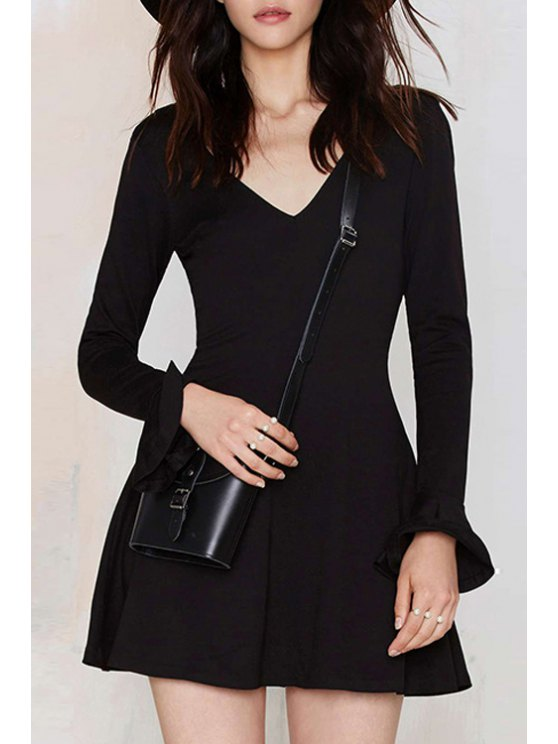 best Solid Color V-Neck Butterfly Sleeves Dress - BLACK XS