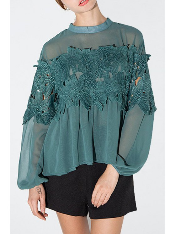 outfits Lace Patchwork Green Chiffon Blouse - GREEN XS