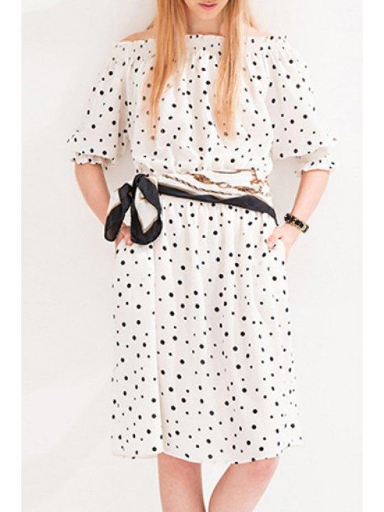unique Slash Neck Half Sleeve Polka Dot Dress - WHITE XS