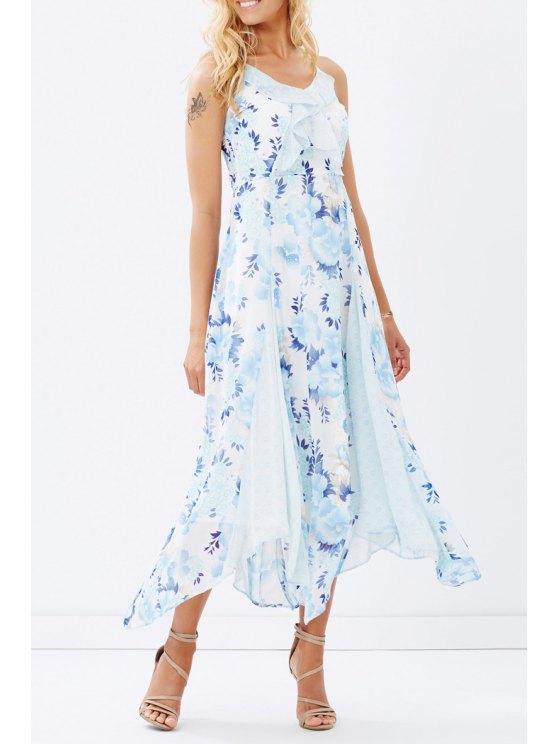 sale Sleeveless Floral Print Chiffon Beach Dress - BLUE XS