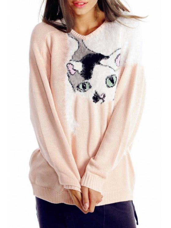 shop Kitten Pattern Round Neck Long Sleeve Jumper - PINK ONE SIZE(FIT SIZE XS TO M)