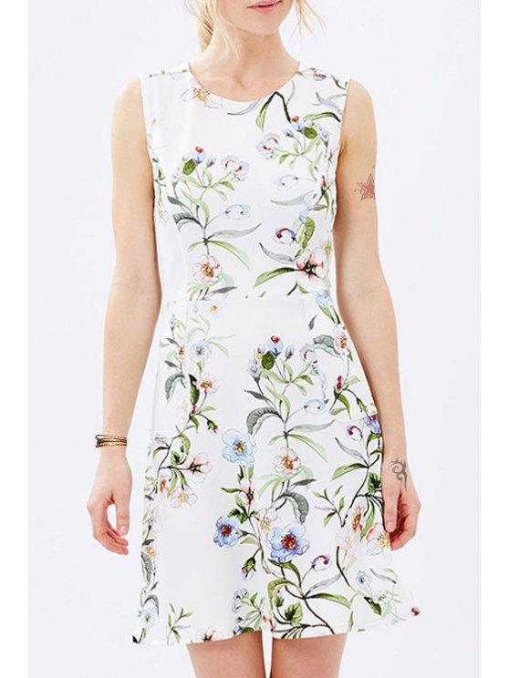 new Round Neck Sleeveless Floral Dress - WHITE XS