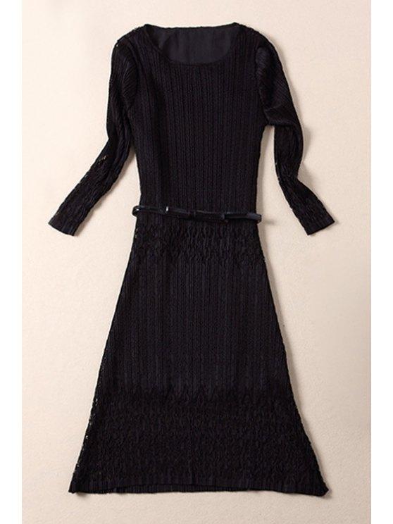 unique Openwork Lace Spliced Jewel Neck Solid Color Dress - BLACK S