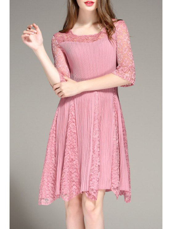 lady Openwork Lace Spliced Pleated Jewel Neck Solid Color Dress - PINK ONE SIZE(FIT SIZE XS TO M)