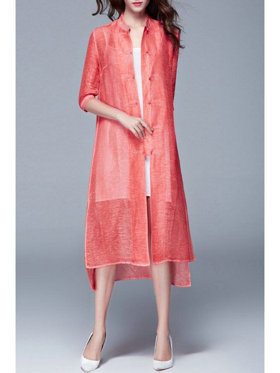 sale Retro Embroidery Solid Color Stand Collar Dress - RED S