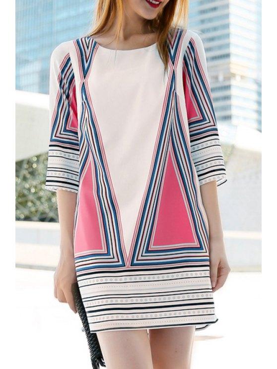 sale Half Sleeve Plus Size Printed Dress - WHITE XL