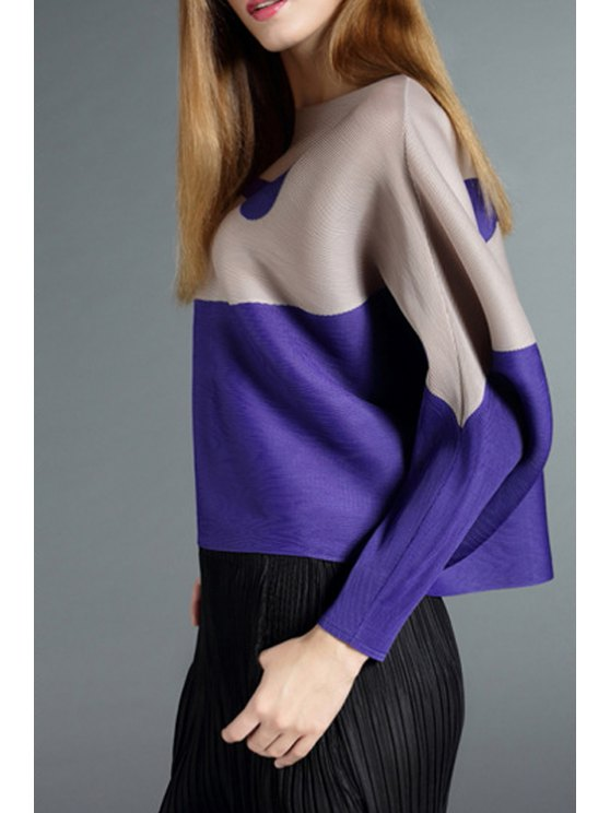 shops Color Block Round Collar Long Sleeves Cape Coat - COLORMIX ONE SIZE(FIT SIZE XS TO M)